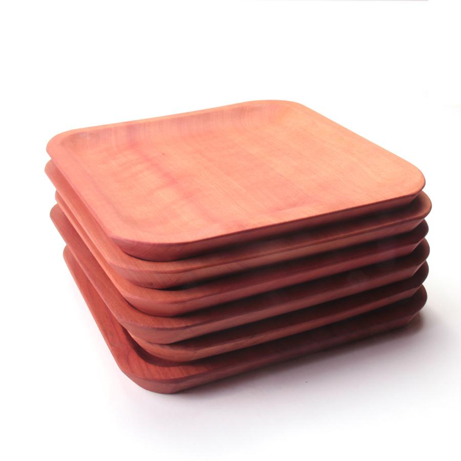 Set de 6 platos de madera chile a mano for Bases para mesas chile