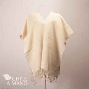 poncho a telar lana blanca